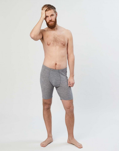 Men's long merino wool boxer shorts with fly- grey melange