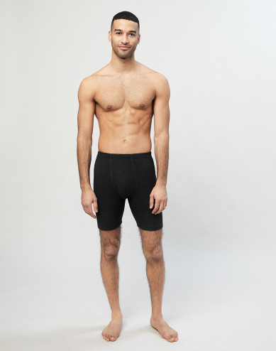 Men's long merino wool boxer shorts with fly- black