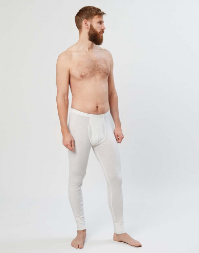 Men's merino wool long johns with fly- nature