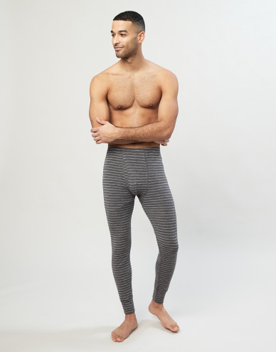Men's merino leggings- Grey stripe