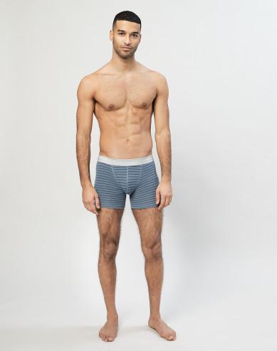 Men's merino wool boxer shorts- Blue Stripe