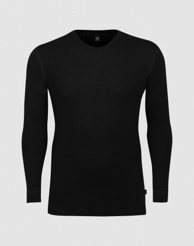 DILLING men's plus size long sleeve wool base layer- black