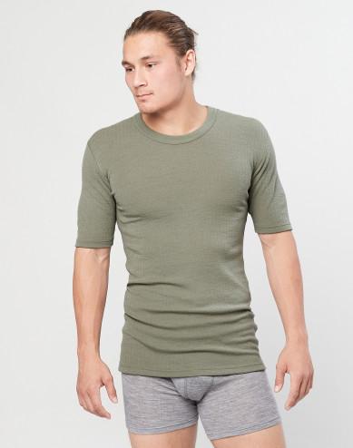 Men's ribbed knit T-shirt- olive green