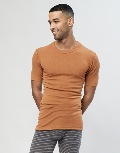 Men's ribbed merino wool T-shirt- Caramel