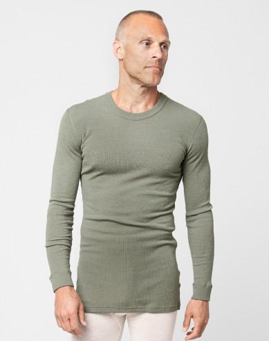 Men's merino wool long sleeve top- olive green