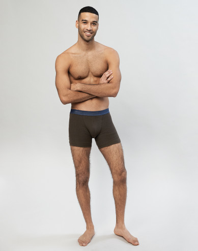 Men's ribbed wool boxer shorts- Dark Chocolate