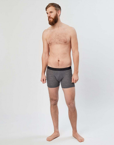 Men's ribbed merino wool boxer shorts- dark grey