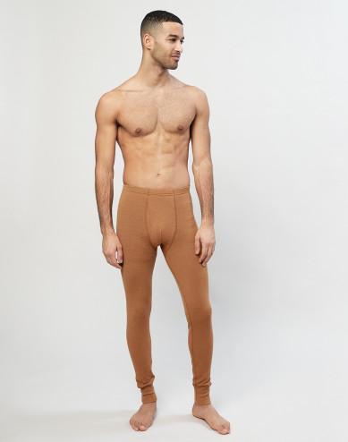 Men's ribbed merino wool leggings- Caramel