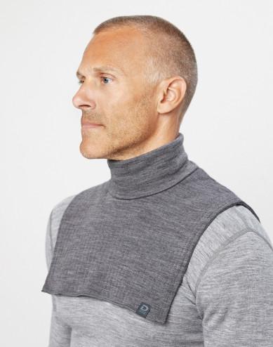Men's wide rib knit merino wool neckwarmer- mottled grey