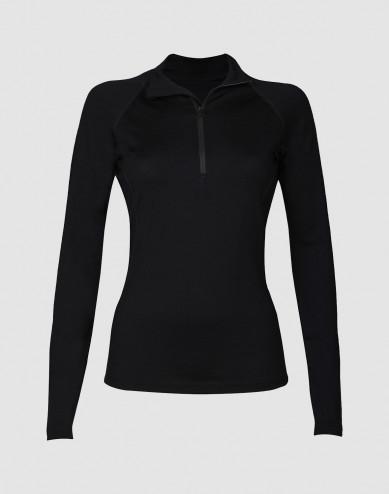 Women's exclusive merino wool midlayer with half zip-black