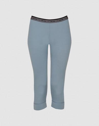 Women's exclusive merino wool 3/4-length leggings - mineral blue