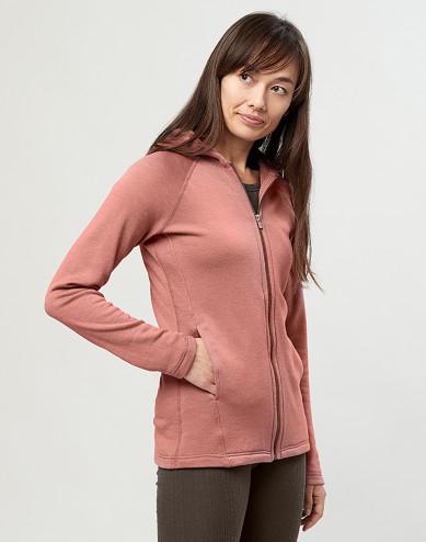Women's wool terry hooded jacket- Dark Pink