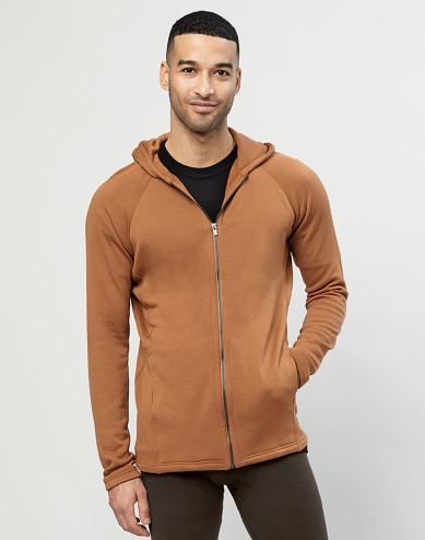 Men's organic merino wool hoodie- Caramel