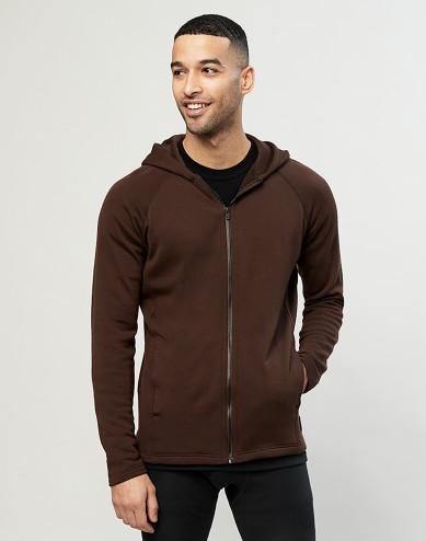 Men's organic merino wool hoodie- Dark Chocolate