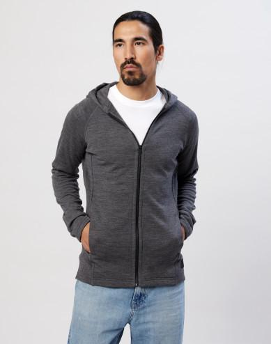 Men's organic merino wool hoodie- dark grey melange