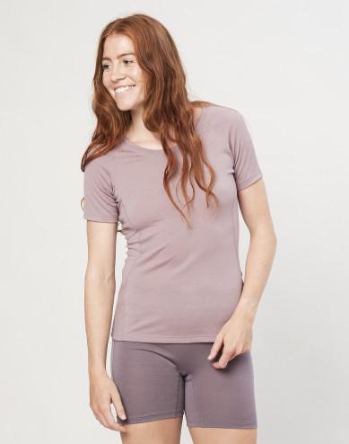 Women's exclusive organic merino wool T-shirt- Dusty Pink