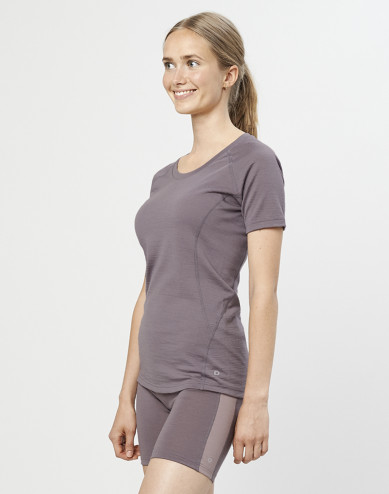 Women's exclusive organic merino wool T-shirt- lavender grey