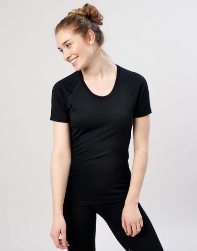 Women's exclusive organic merino wool T-shirt- Black