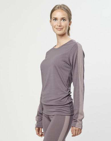 Women's exclusive organic merino wool long sleeve base layer- lavender grey