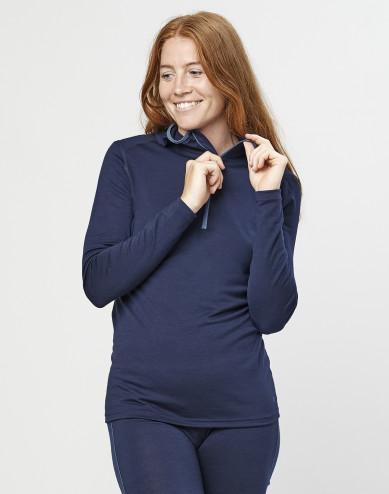 Women's exclusive organic merino wool hooded top- Navy
