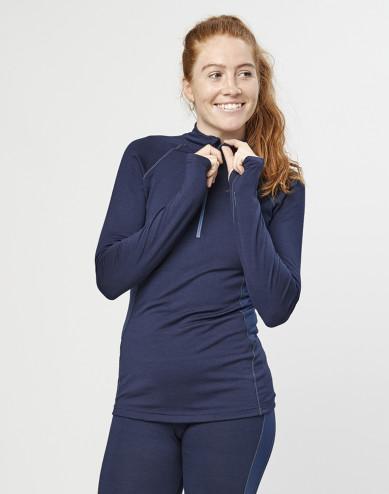 Women's exclusive organic merino wool top with zip- Navy