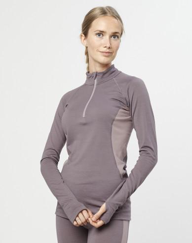 Women's exclusive organic merino wool top with zip- lavender grey