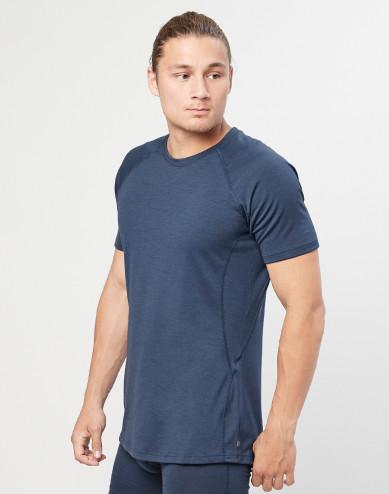 Men's natural merino wool T-shirt- grey blue