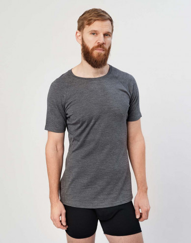 Men's exclusive merino wool T-shirt- dark grey