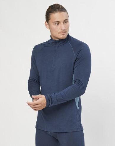 Men's exclusive organic merino wool long sleeve top with zip- Grey Blue