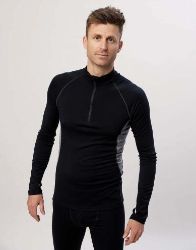 Men's exclusive organic merino wool long sleeve top with zip- Black