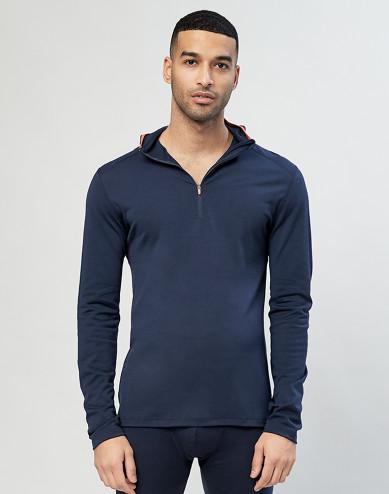Men's exclusive organic merino wool hooded top- Navy