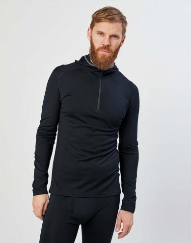 Men's exclusive organic merino wool hooded top- Black