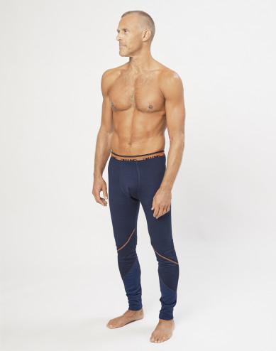 Men's exclusive organic merino wool long leggings- Navy