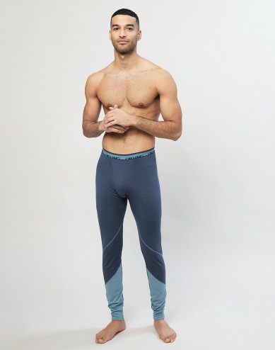 Men's exclusive organic merino wool long leggings- Grey Blue