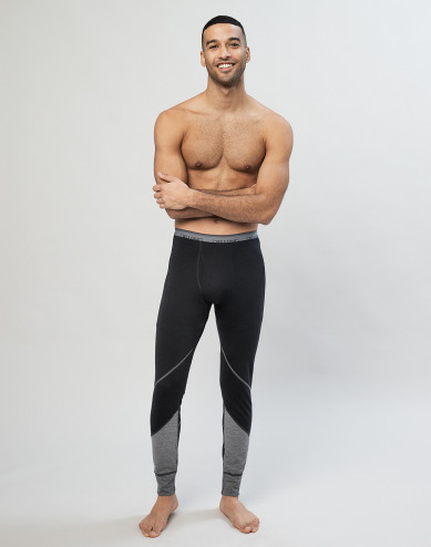 Men's exclusive organic merino wool long leggings- Black