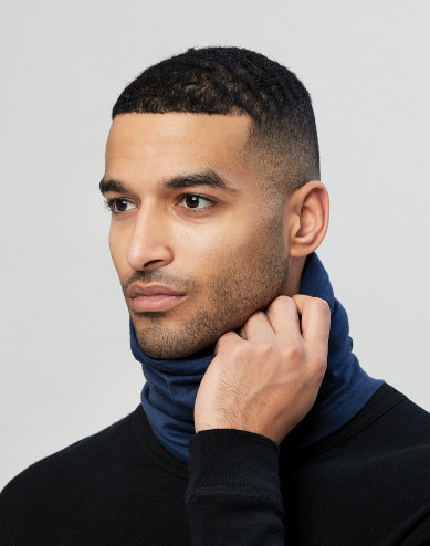 Men's exclusive merino wool neckwarmer- dark blue