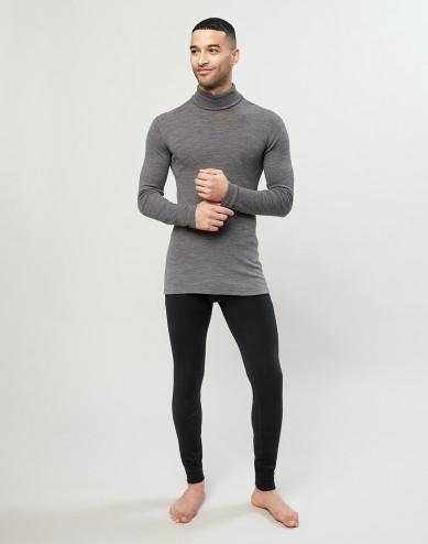 Men's merino wool/silk blend long johns- black