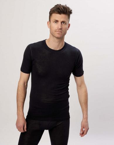 Men's merino wool/silk t-shirt black