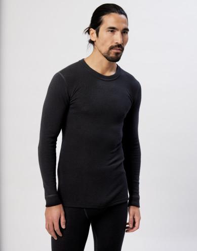 Men's long sleeve merino wool/silk top black