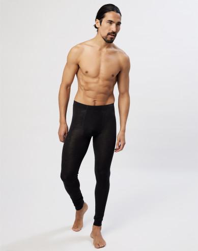 Men's organic merino wool/silk long johns with fly - black